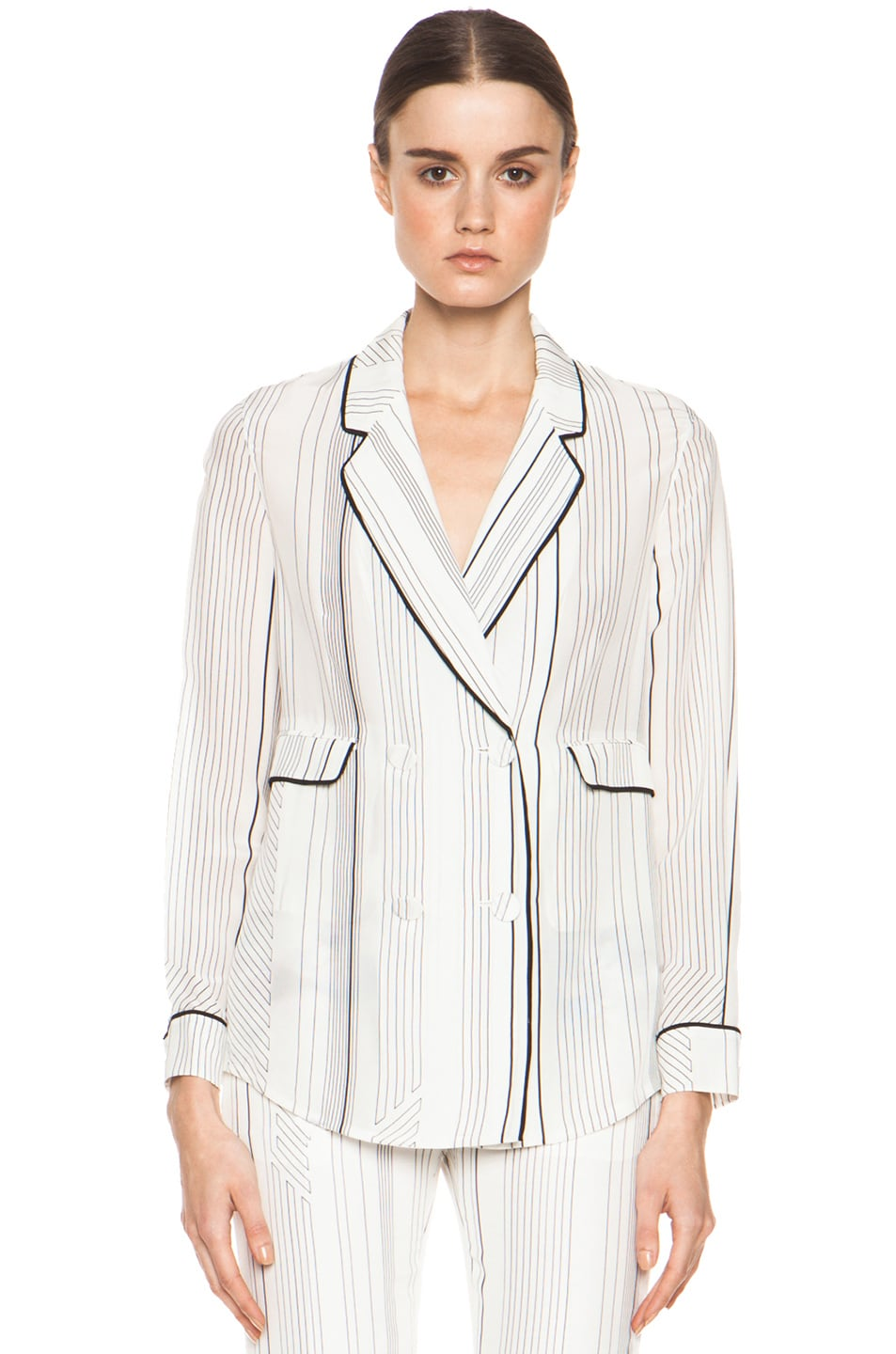 Image 1 of 3.1 phillip lim Piping Pajama Jacket in Antique White