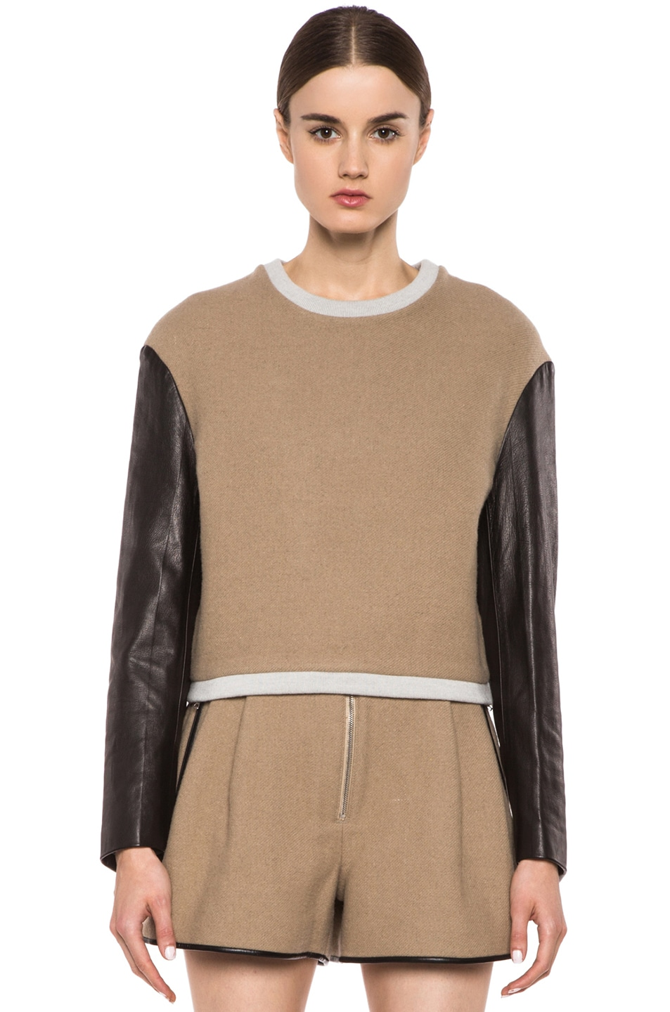 Image 1 of 3.1 phillip lim Leather Sleeve Cropped Wool-Blend Sweatshirt in Beige