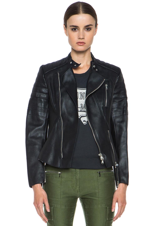Image 1 of 3.1 phillip lim Calfskin Leather Motorcycle Peplum Jacket in Black