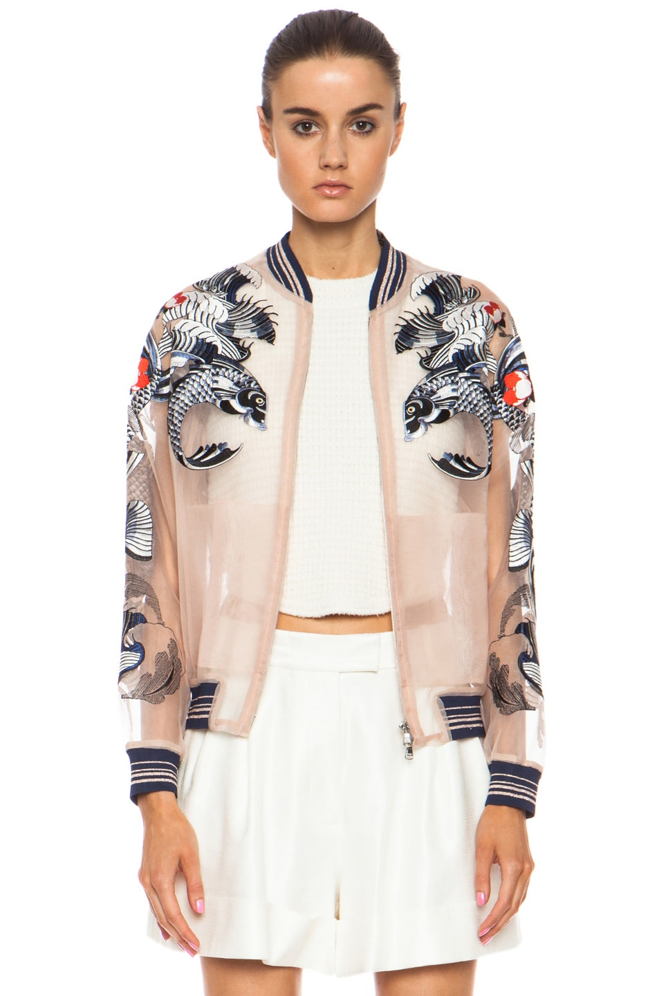 Image 1 of 3.1 phillip lim Tattoo Embroidered Organza Jacket in Nude