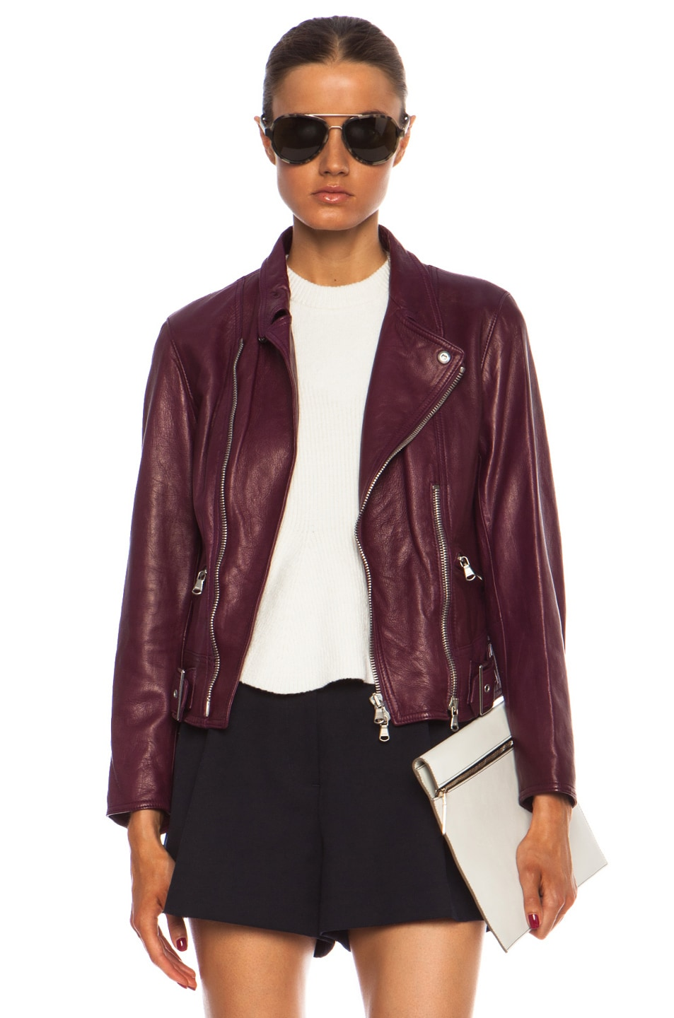 Image 1 of 3.1 phillip lim Sculpted Motorcycle Leather Jacket in Orchid