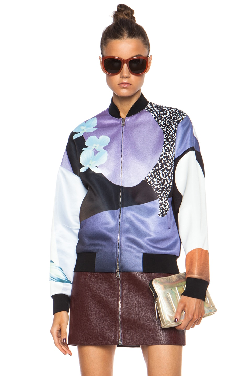 Image 1 of 3.1 phillip lim Grafitti Floral Poly Bomber in Purple & Caramel