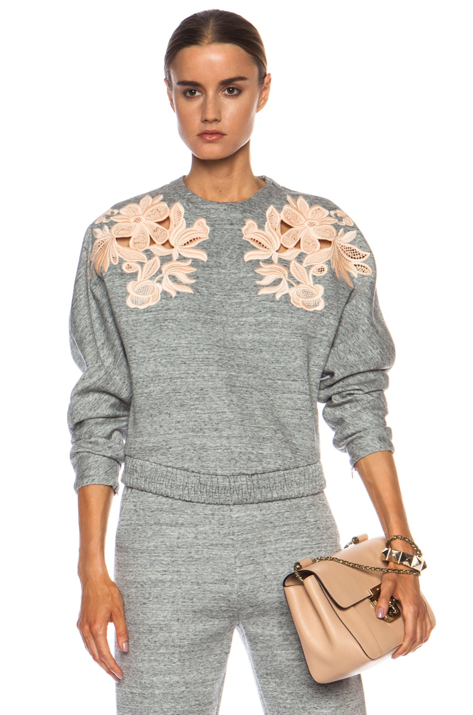 Image 1 of 3.1 phillip lim Embroidered Cotton-Blend Sweatshirt in Charcoal