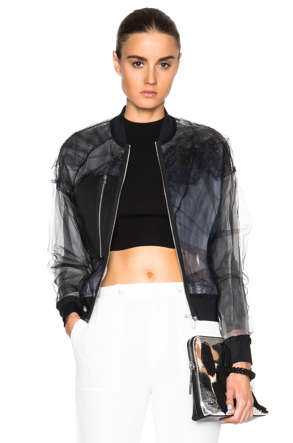 Image 1 of 3.1 phillip lim Lace Insert Bomber Jacket in Black
