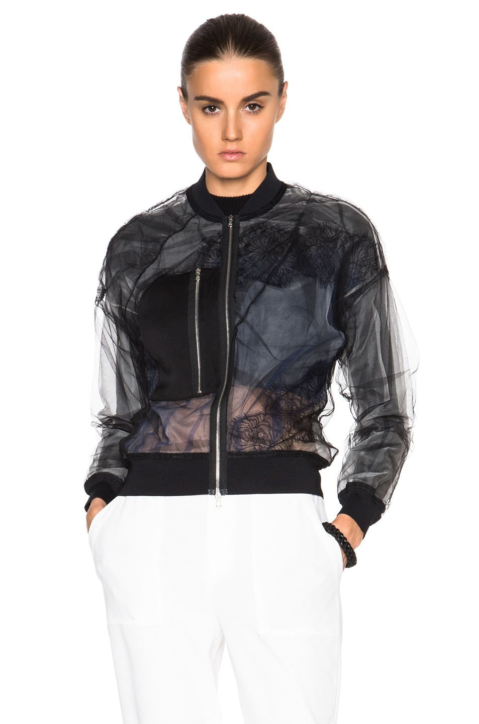 Image 2 of 3.1 phillip lim Lace Insert Bomber Jacket in Black