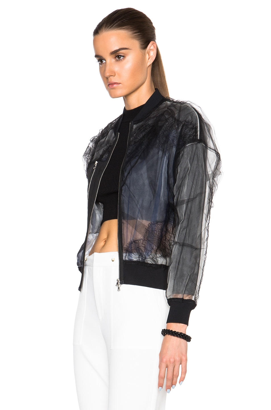 Image 3 of 3.1 phillip lim Lace Insert Bomber Jacket in Black