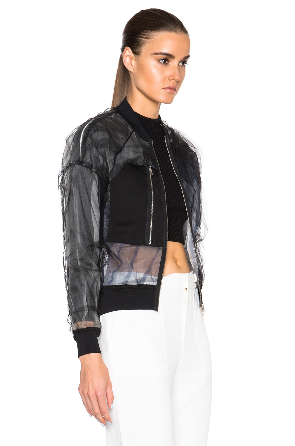 Image 4 of 3.1 phillip lim Lace Insert Bomber Jacket in Black