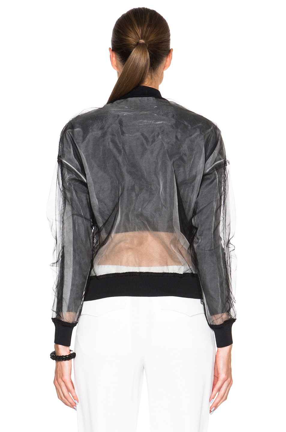 Image 5 of 3.1 phillip lim Lace Insert Bomber Jacket in Black