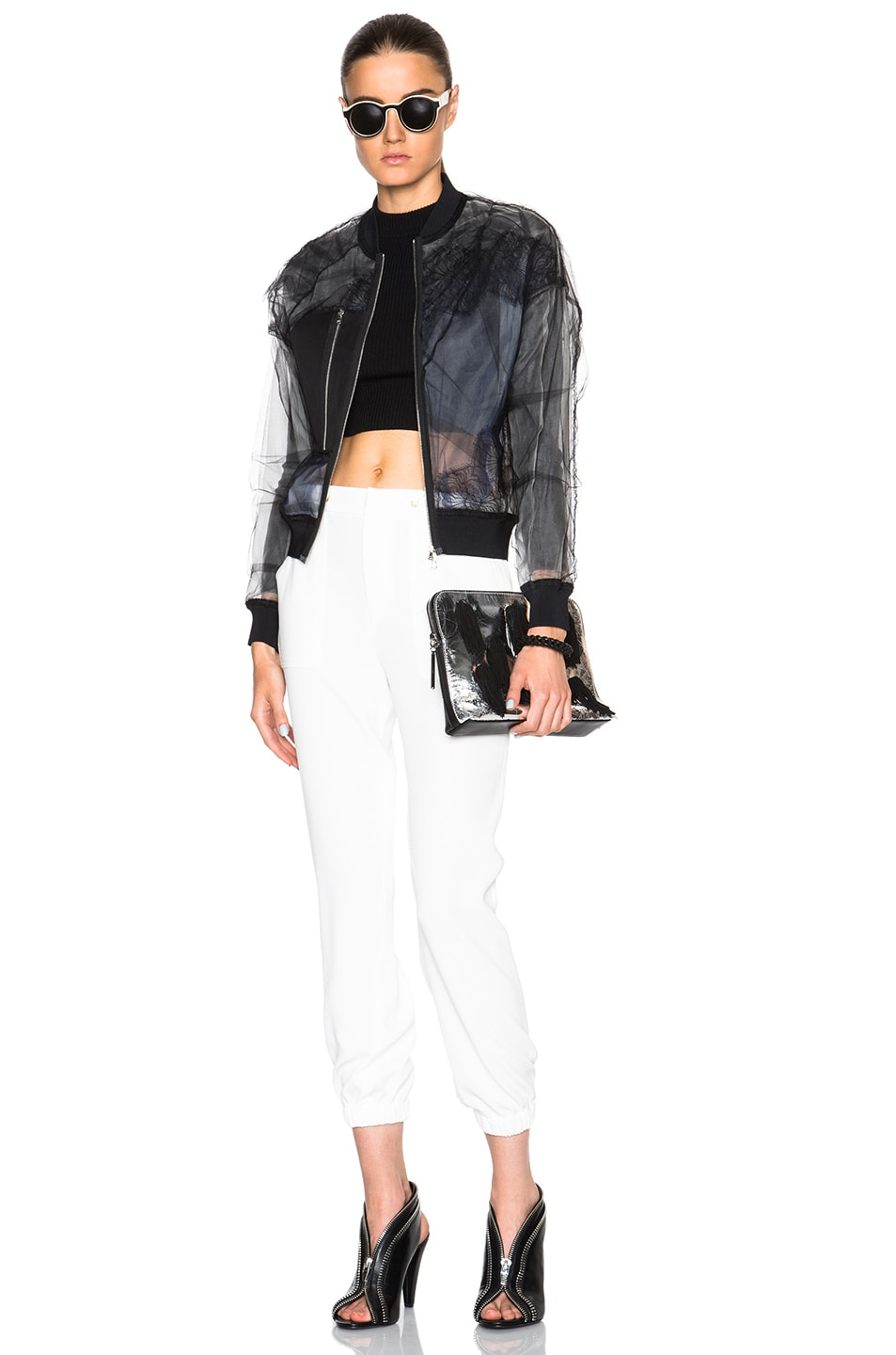 Image 6 of 3.1 phillip lim Lace Insert Bomber Jacket in Black