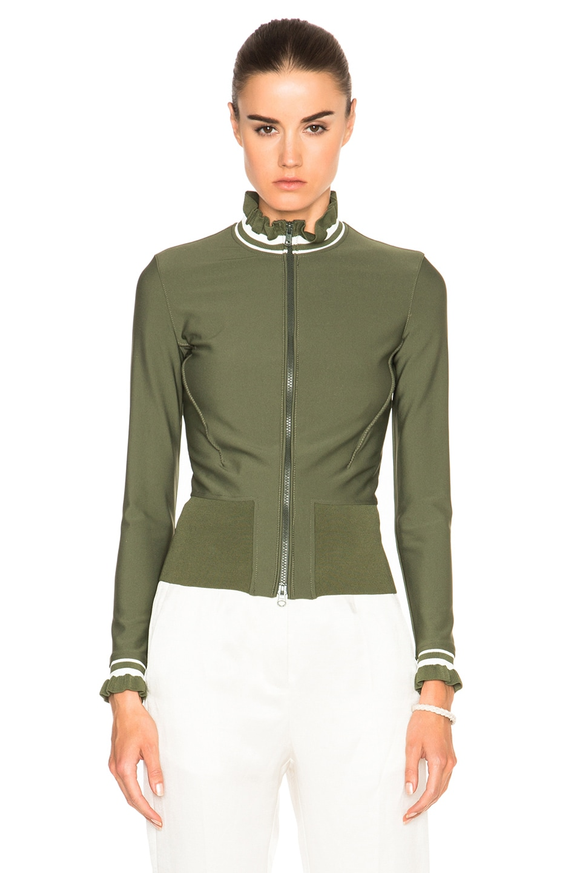 Image 2 of 3.1 phillip lim Zigzag Finish Wetsuit Jacket in Agave