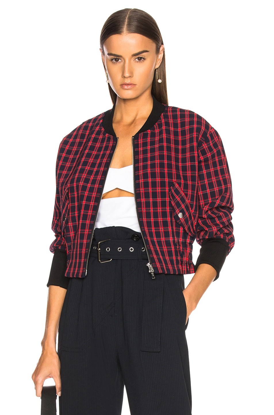Image 1 of 3.1 phillip lim Plaid Bomber Jacket in Black & Red