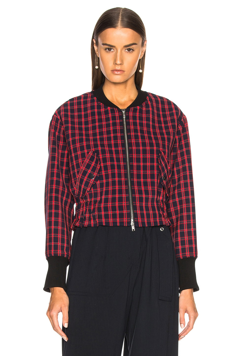 Image 2 of 3.1 phillip lim Plaid Bomber Jacket in Black & Red