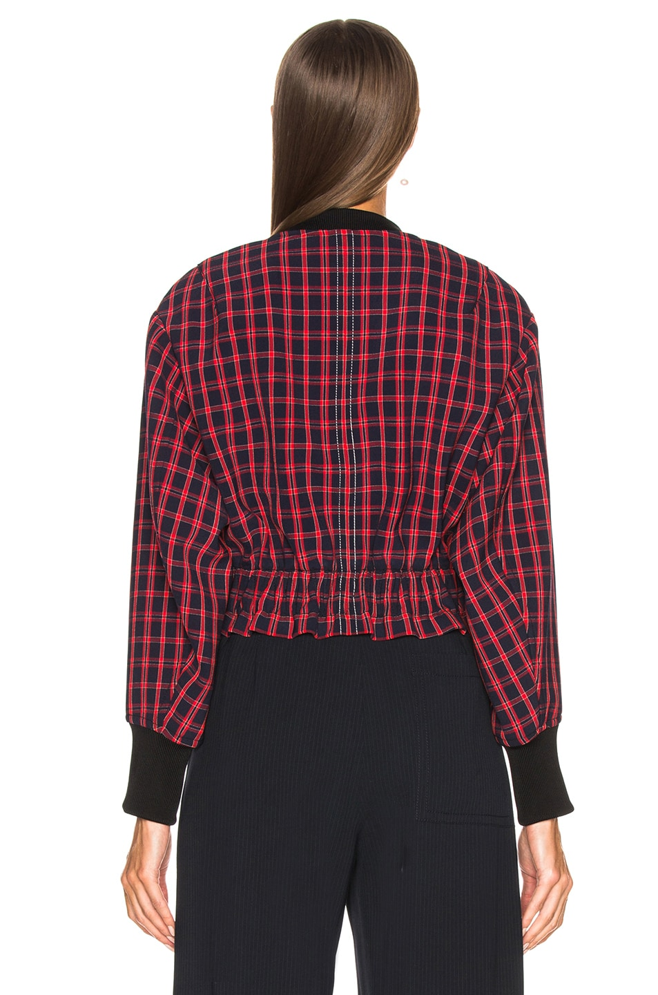 Image 4 of 3.1 phillip lim Plaid Bomber Jacket in Black & Red