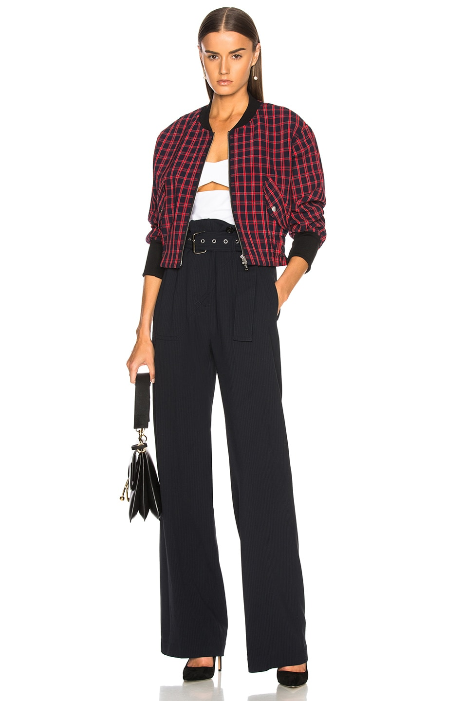 Image 5 of 3.1 phillip lim Plaid Bomber Jacket in Black & Red