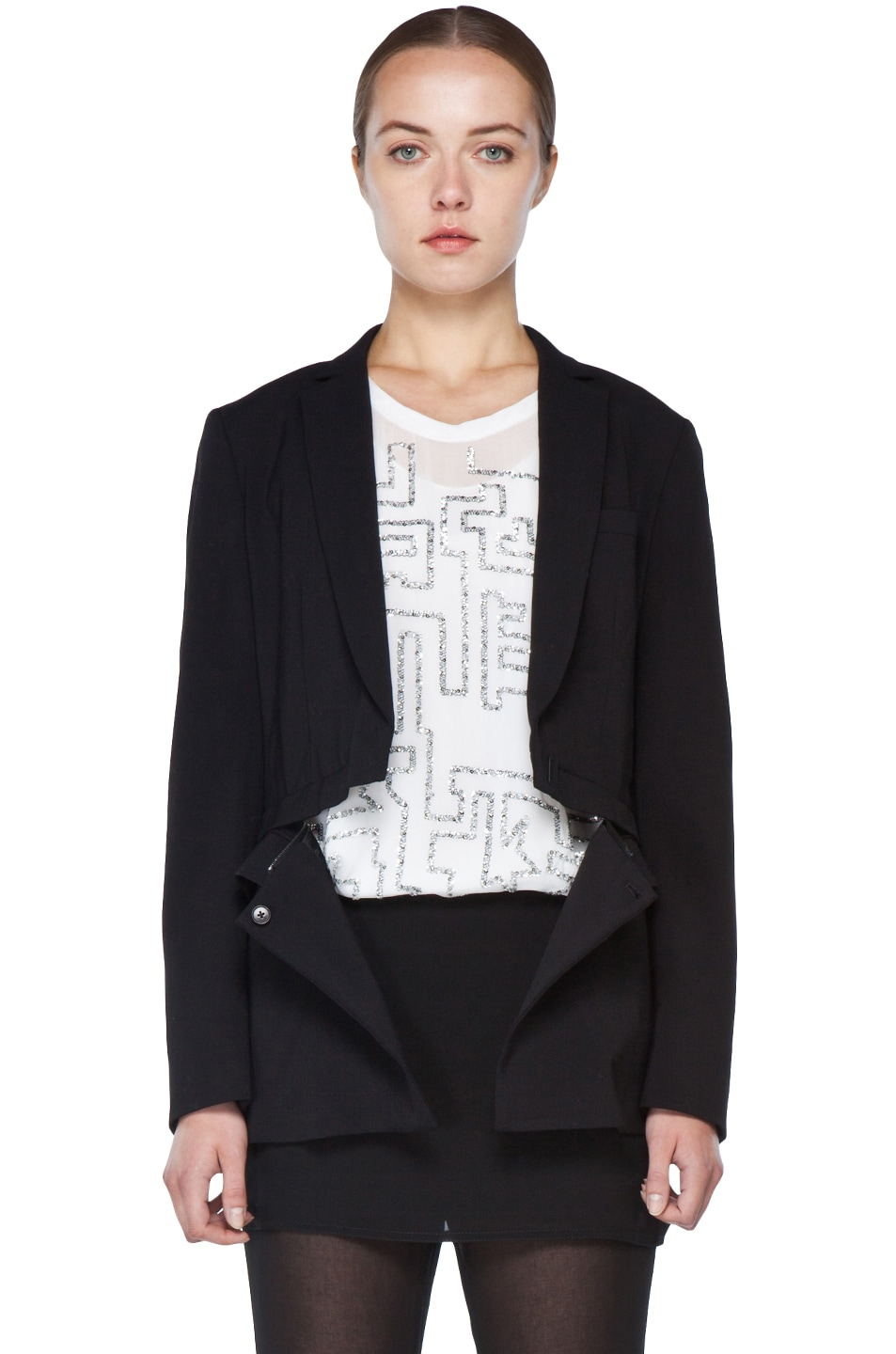 Image 3 of 3.1 phillip lim Blazer with Detachable Lower Panel in Black