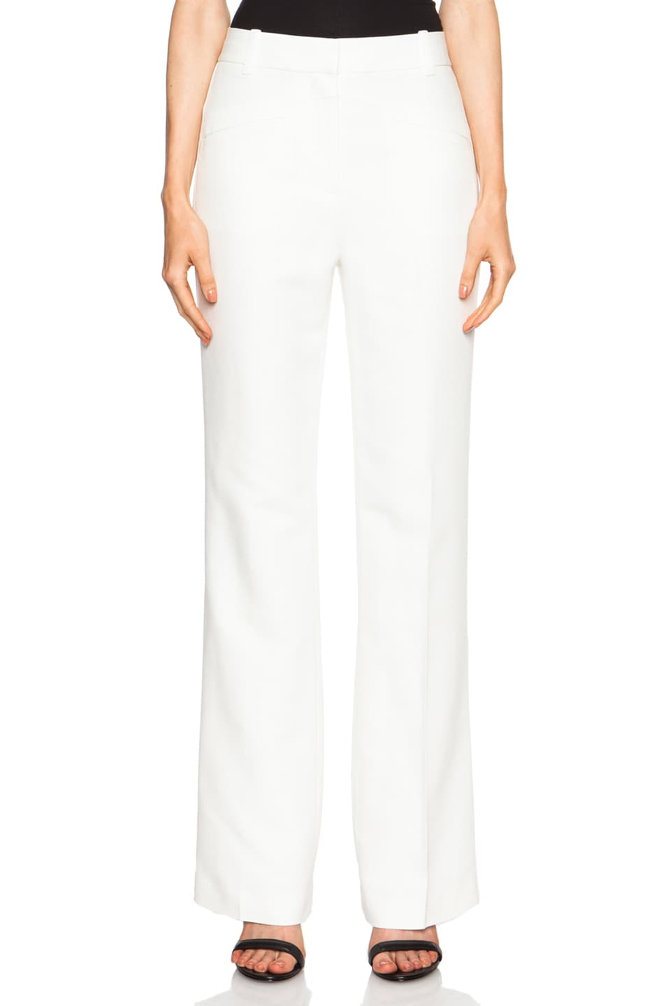 Image 1 of 3.1 phillip lim High Waisted Slim Flare Viscose-Blend Trouser in Ivory