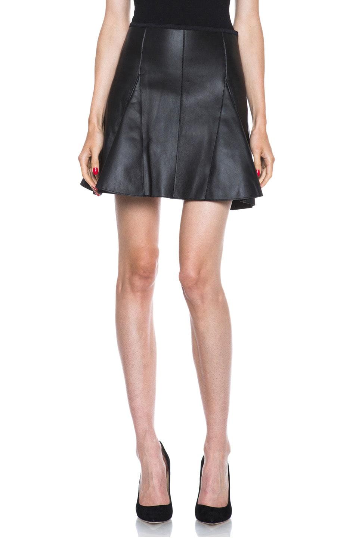 Image 1 of 3.1 phillip lim Peplum Flare Lambskin Leather Skirt in Black