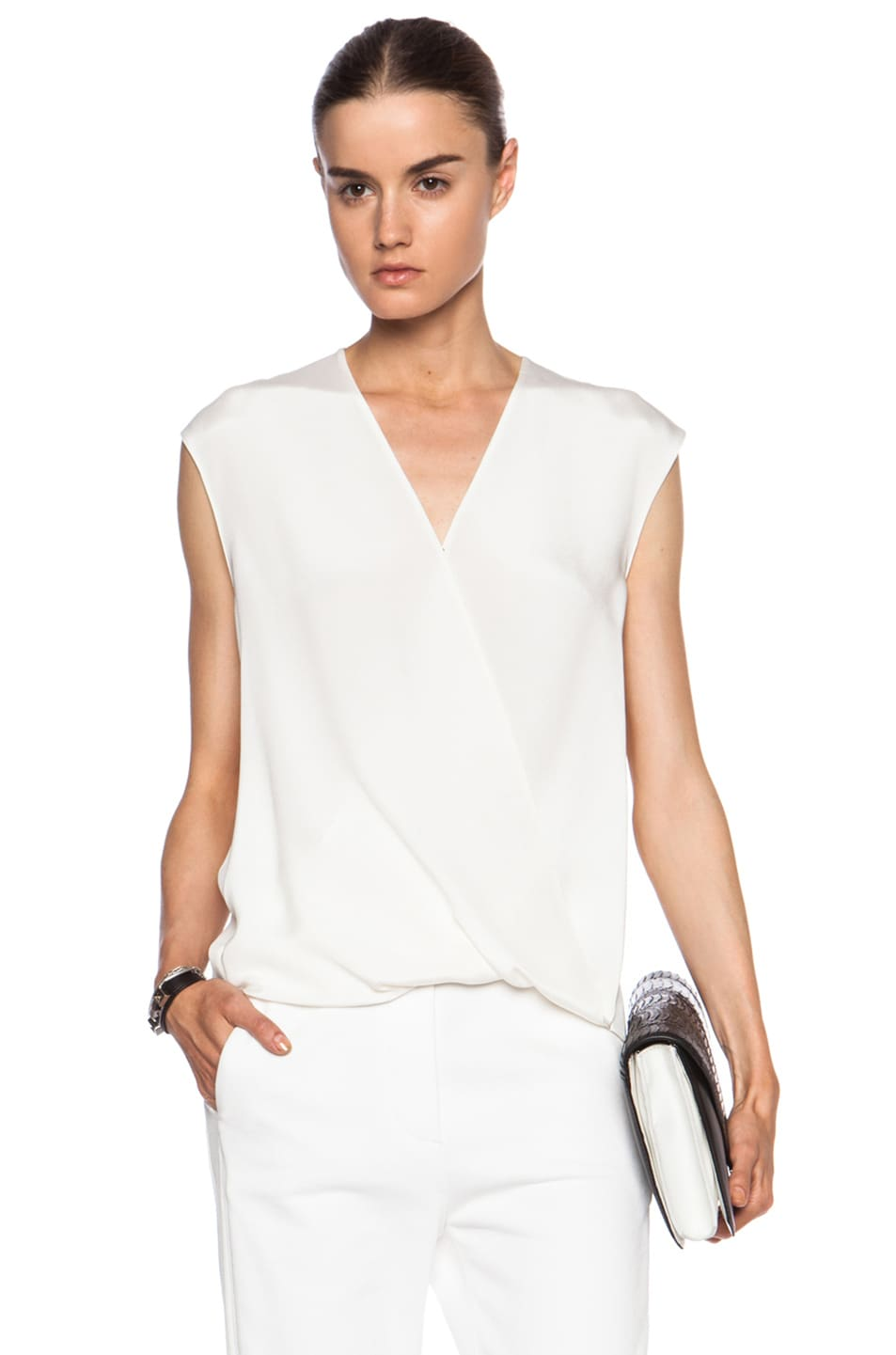 Image 1 of 3.1 phillip lim Soft Draped Silk Top in Antique White