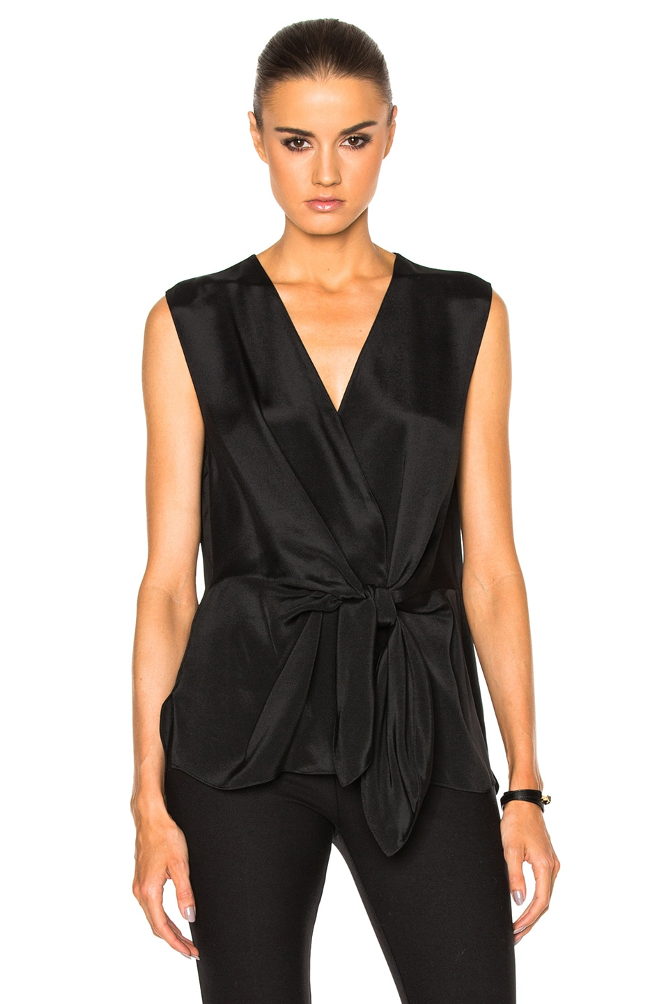 Image 1 of 3.1 phillip lim Sleeveless Front Knot Top in Black