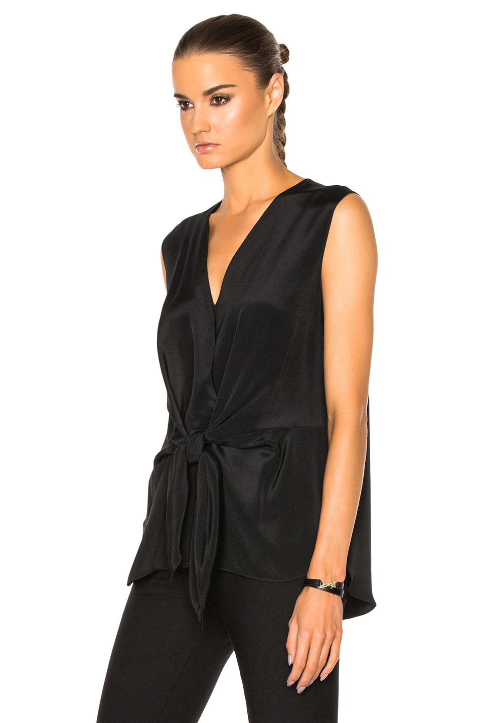 Image 2 of 3.1 phillip lim Sleeveless Front Knot Top in Black