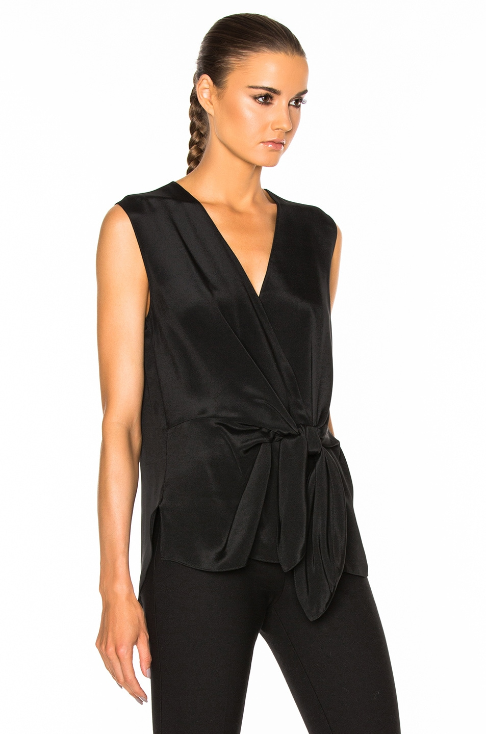 Image 3 of 3.1 phillip lim Sleeveless Front Knot Top in Black