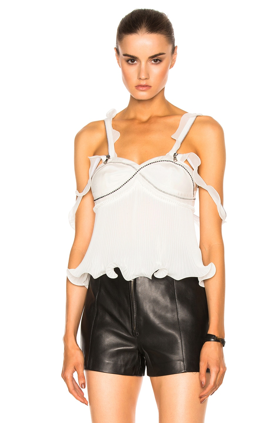 Image 1 of 3.1 phillip lim Sleeveless Pleated Ruffle Top in Antique White