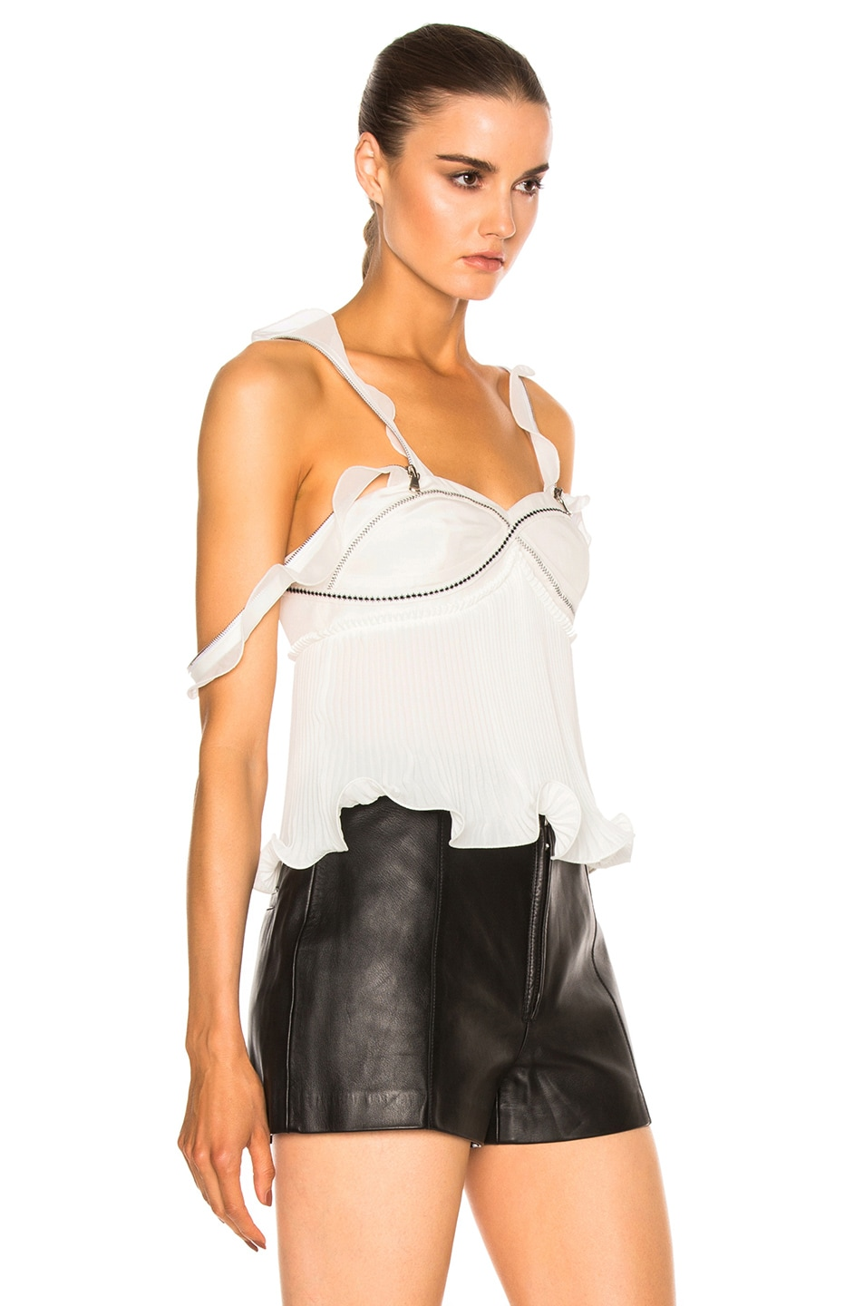 Image 3 of 3.1 phillip lim Sleeveless Pleated Ruffle Top in Antique White