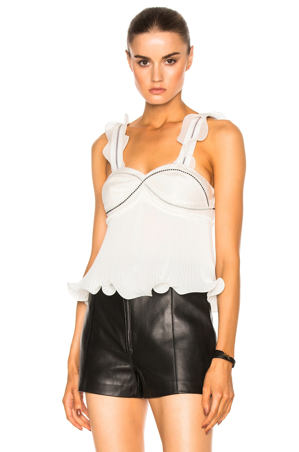 Image 4 of 3.1 phillip lim Sleeveless Pleated Ruffle Top in Antique White