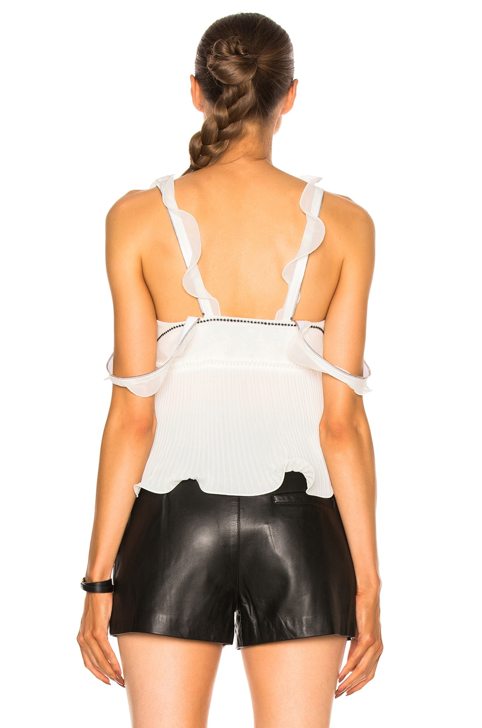 Image 5 of 3.1 phillip lim Sleeveless Pleated Ruffle Top in Antique White