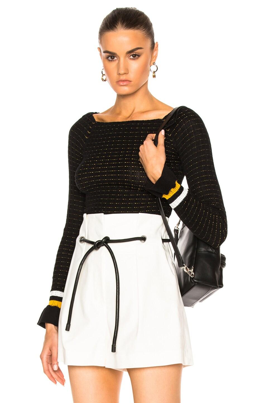 Image 1 of 3.1 phillip lim Long Sleeve Off Shoulder Pullover in Black