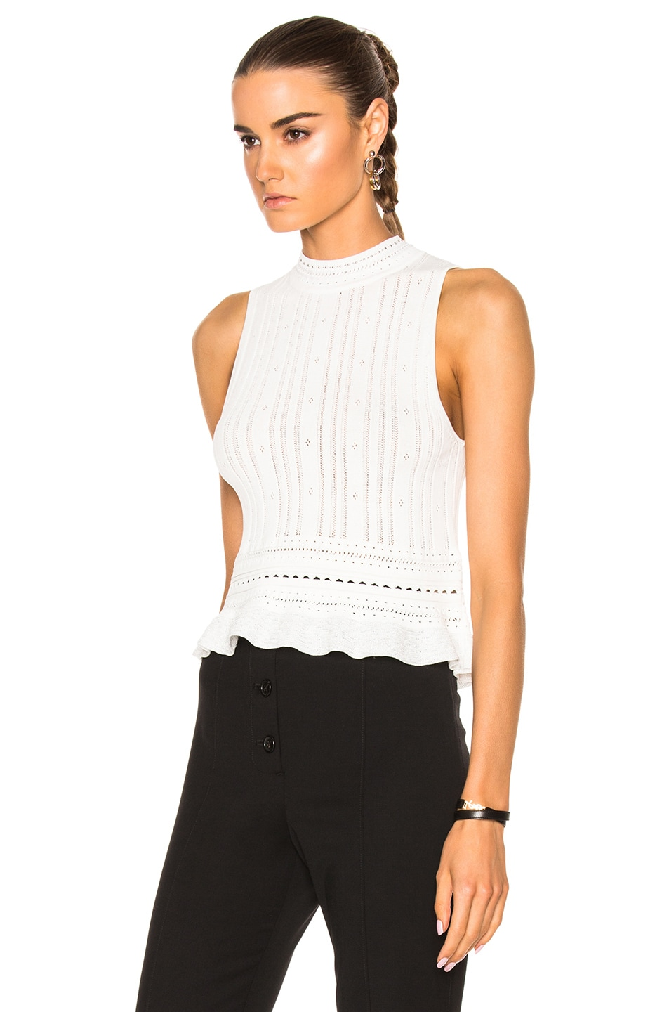 Image 2 of 3.1 phillip lim Compact Pointelle Lace Cropped Tank in Antique White