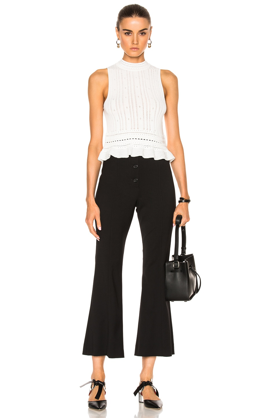 Image 5 of 3.1 phillip lim Compact Pointelle Lace Cropped Tank in Antique White
