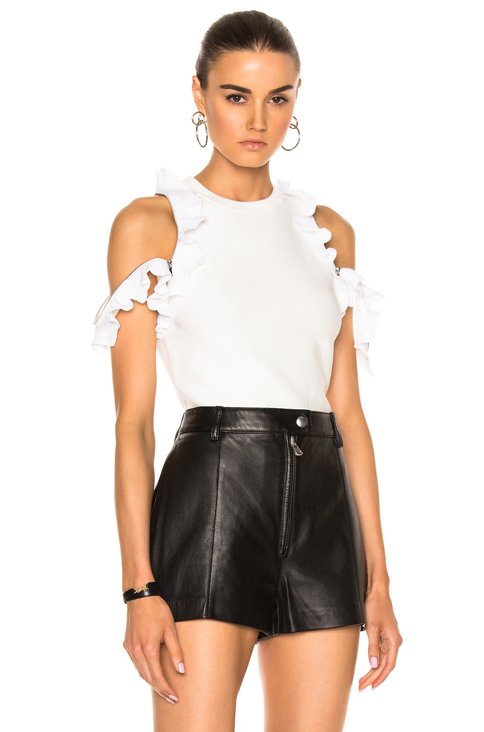 Image 1 of 3.1 phillip lim Ruffle Sport Tank with Zippers in White