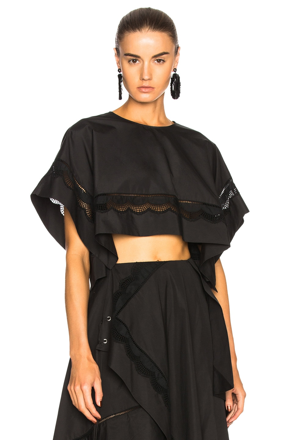 3.1 phillip lim Cropped Eyelet Top in Black