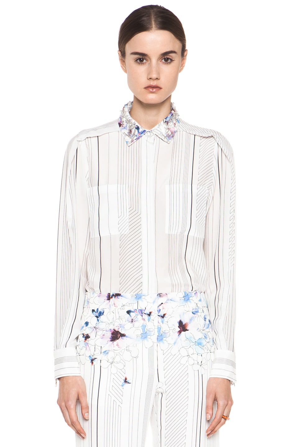 Image 1 of 3.1 phillip lim Pleat Shoulder Shirt with Embellished Collar in Antique White