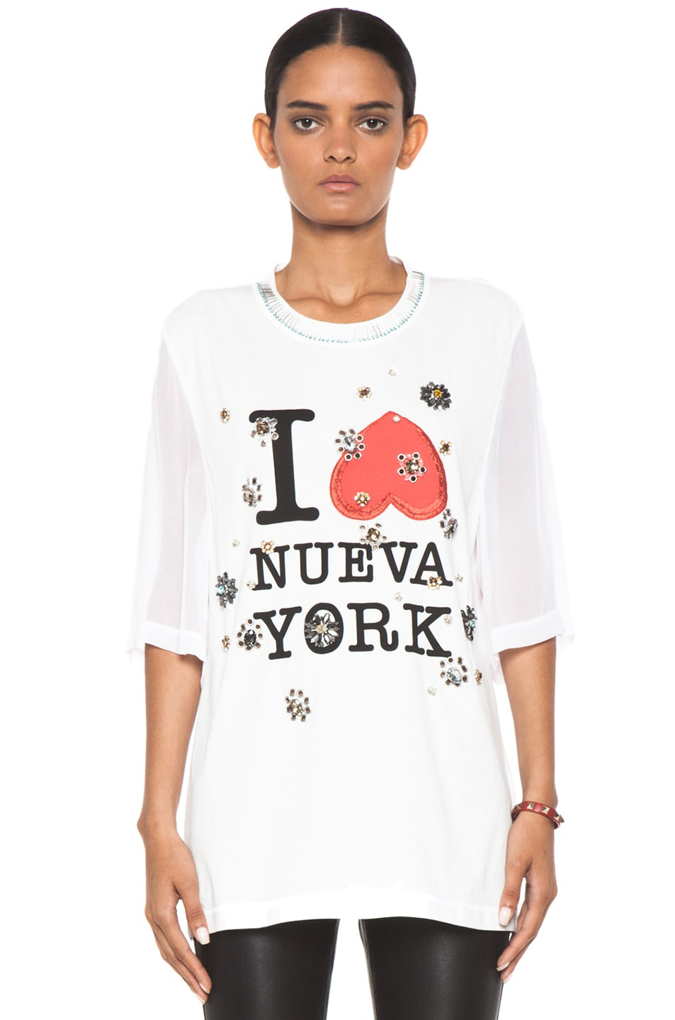Image 1 of 3.1 phillip lim Nueva York Floral Eyelet Embroidery Tee in Antique White