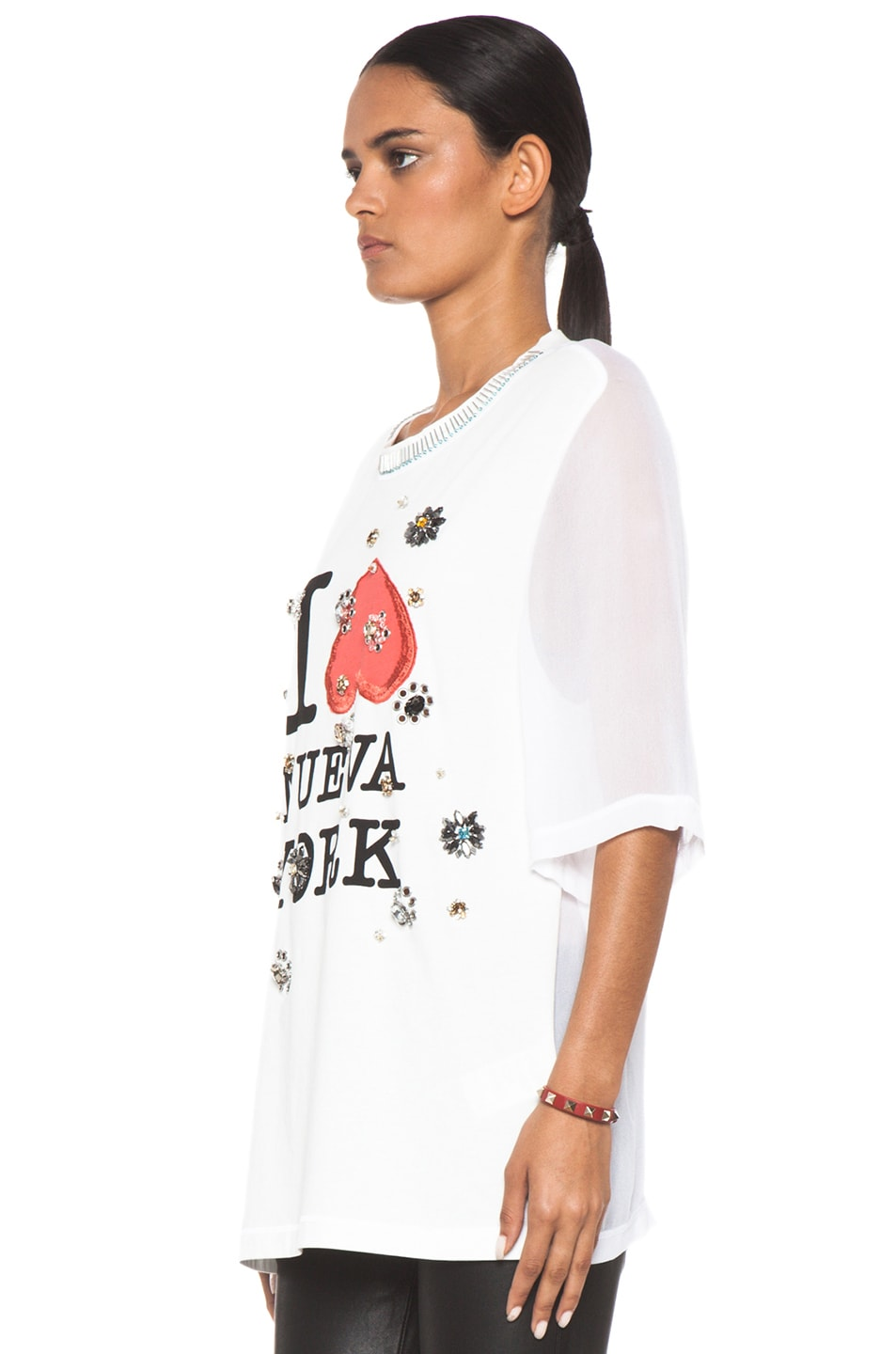 Image 2 of 3.1 phillip lim Nueva York Floral Eyelet Embroidery Tee in Antique White