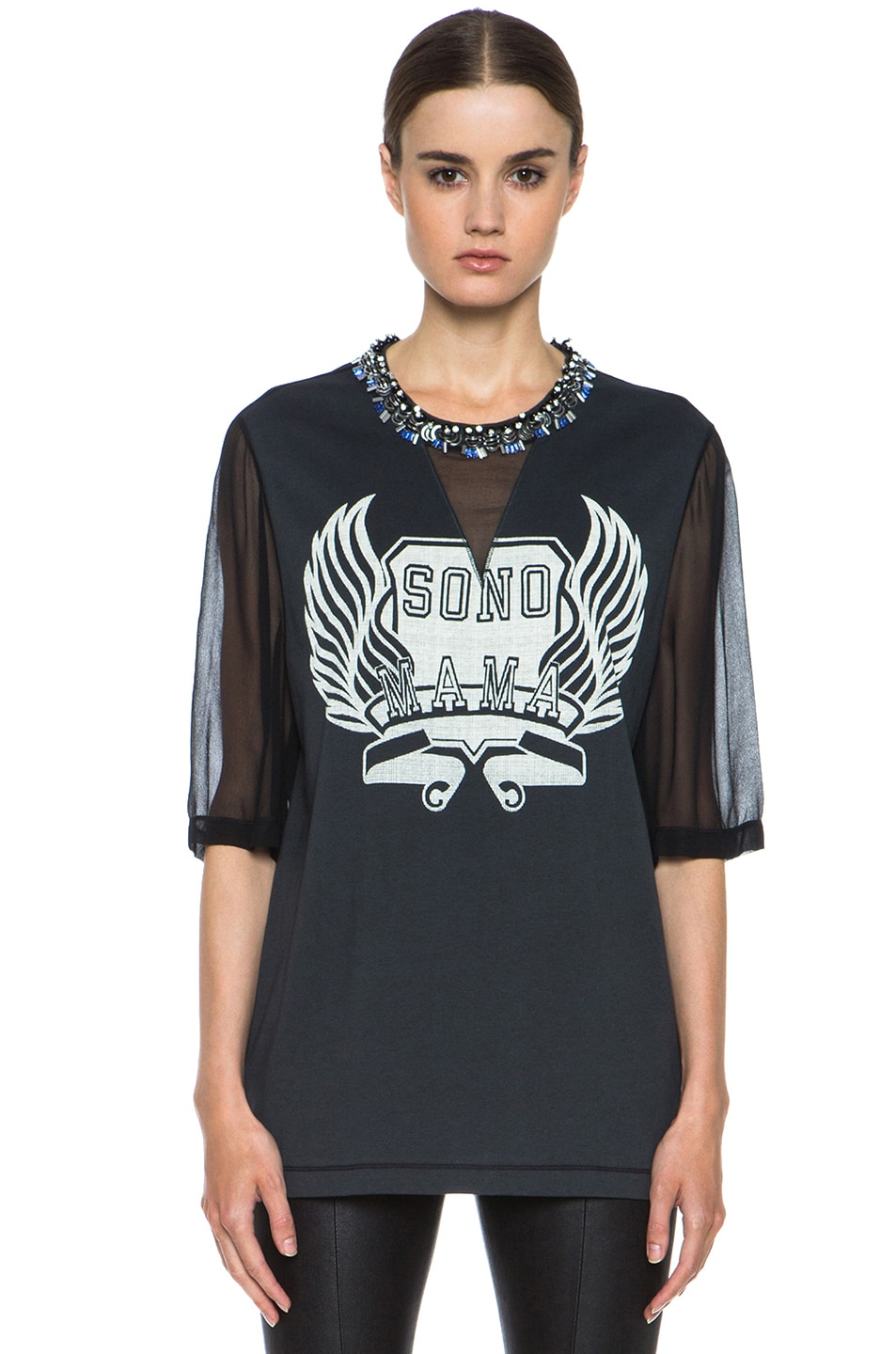 Image 1 of 3.1 phillip lim Sonomama Oversize Tee with Beaded Collar in Soft Black