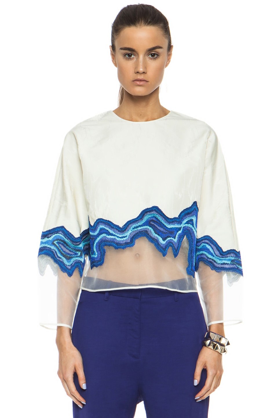 Image 1 of 3.1 phillip lim Embroidered Geode Poly Top in Ivory