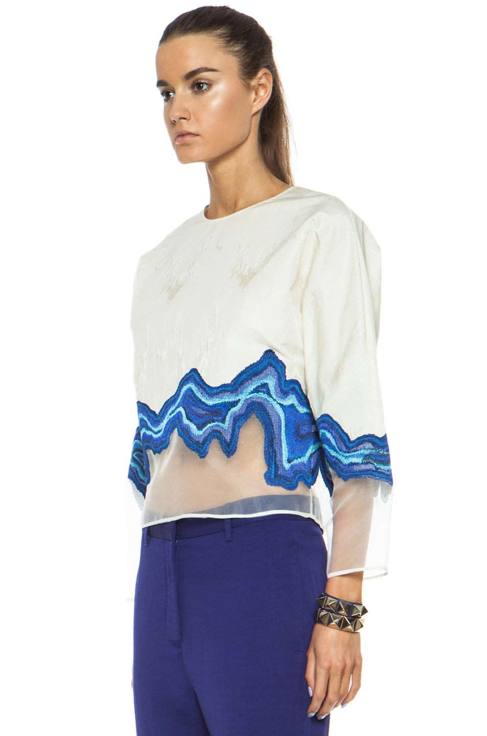Image 2 of 3.1 phillip lim Embroidered Geode Poly Top in Ivory
