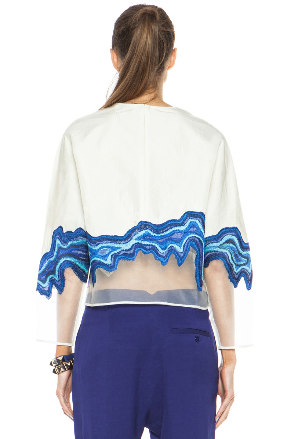 Image 4 of 3.1 phillip lim Embroidered Geode Poly Top in Ivory