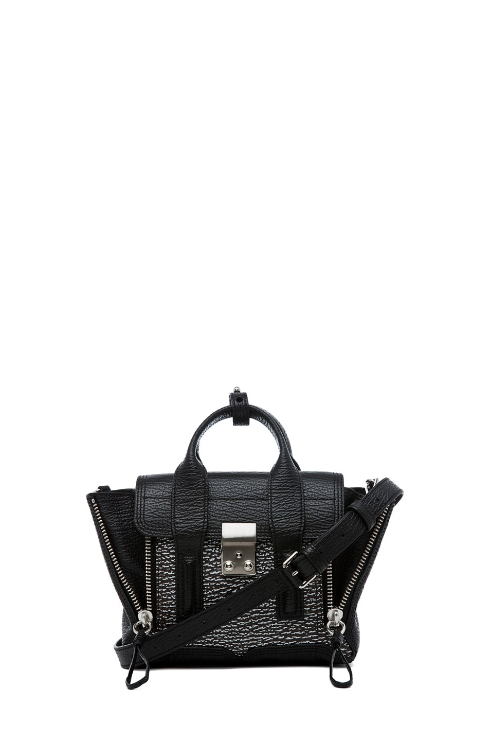 Image 1 of 3.1 phillip lim Mini Pashli Shark Embossed Satchel in White & Black