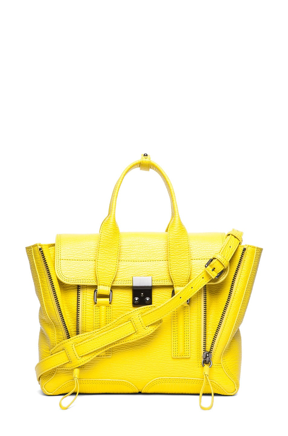 Image 1 of 3.1 phillip lim Medium Pashli Shark Embossed Satchel in Electric Yellow