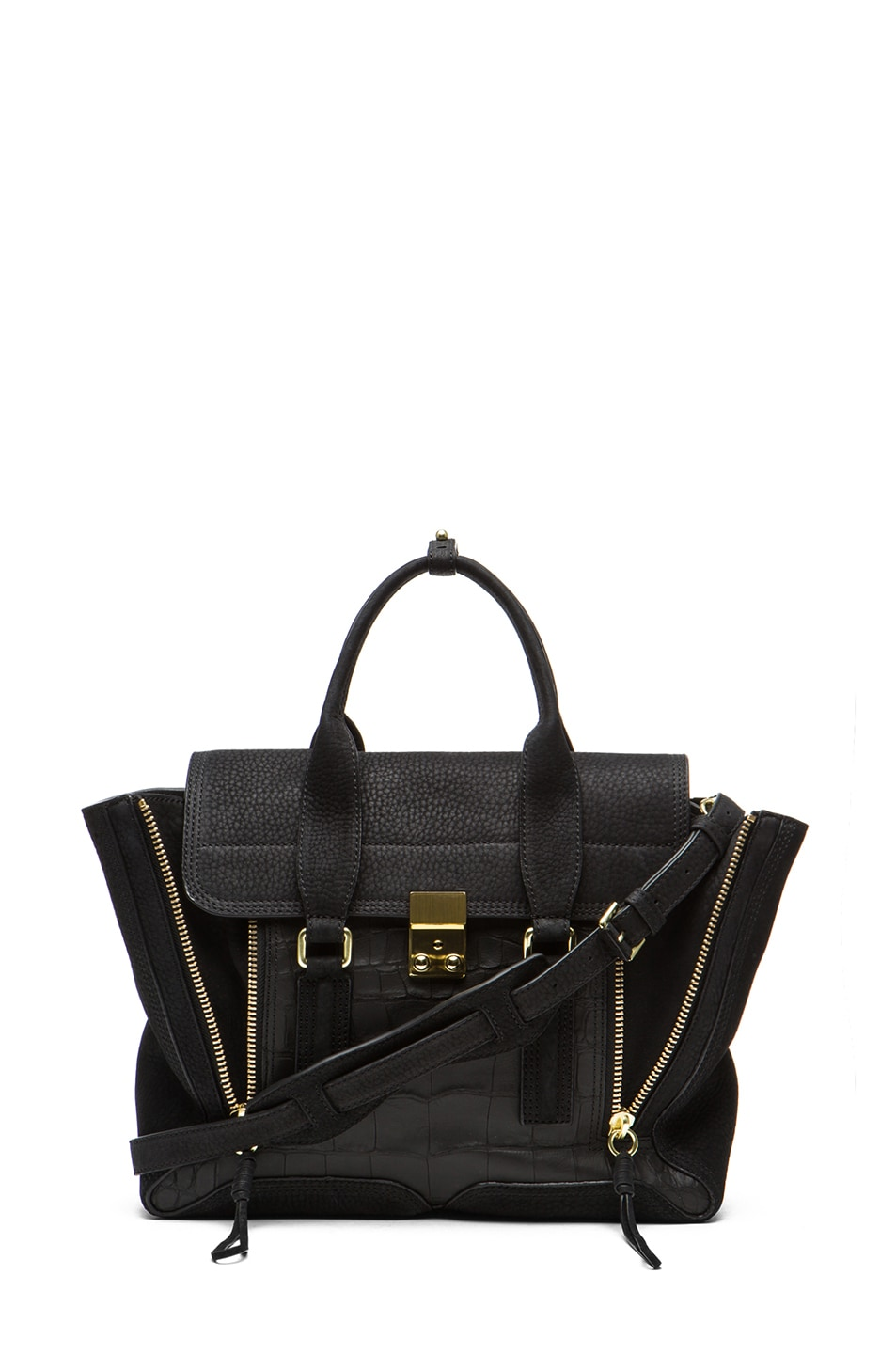 Image 1 of 3.1 phillip lim Medium Pashli Trapeze in Black Croc