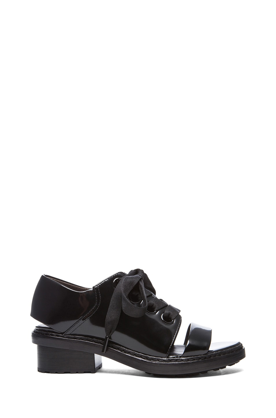 Image 1 of 3.1 phillip lim Floreana Open Toe Lace up Leather Booties in Black