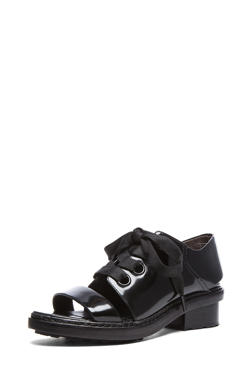 Image 2 of 3.1 phillip lim Floreana Open Toe Lace up Leather Booties in Black