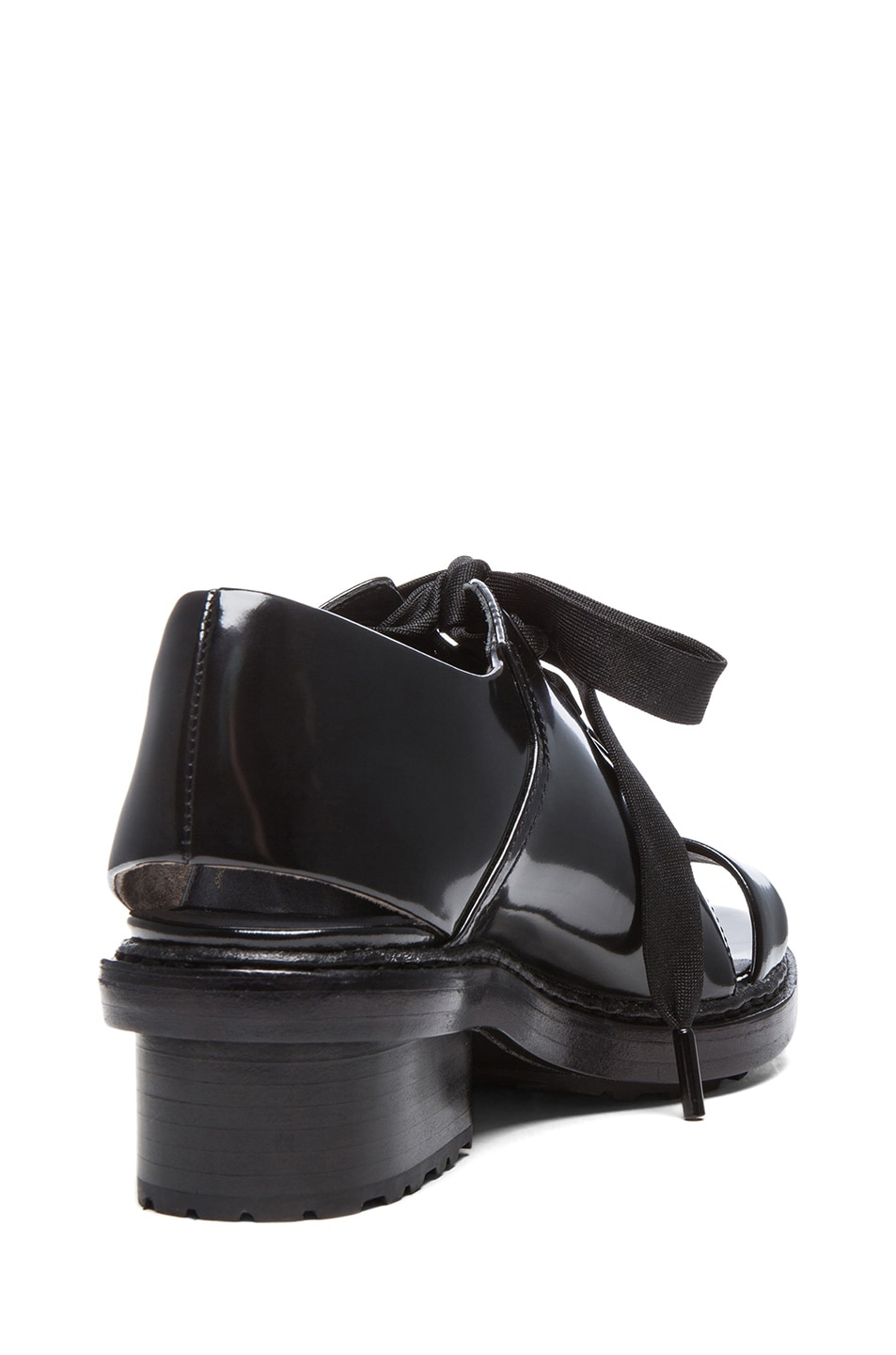 Image 3 of 3.1 phillip lim Floreana Open Toe Lace up Leather Booties in Black
