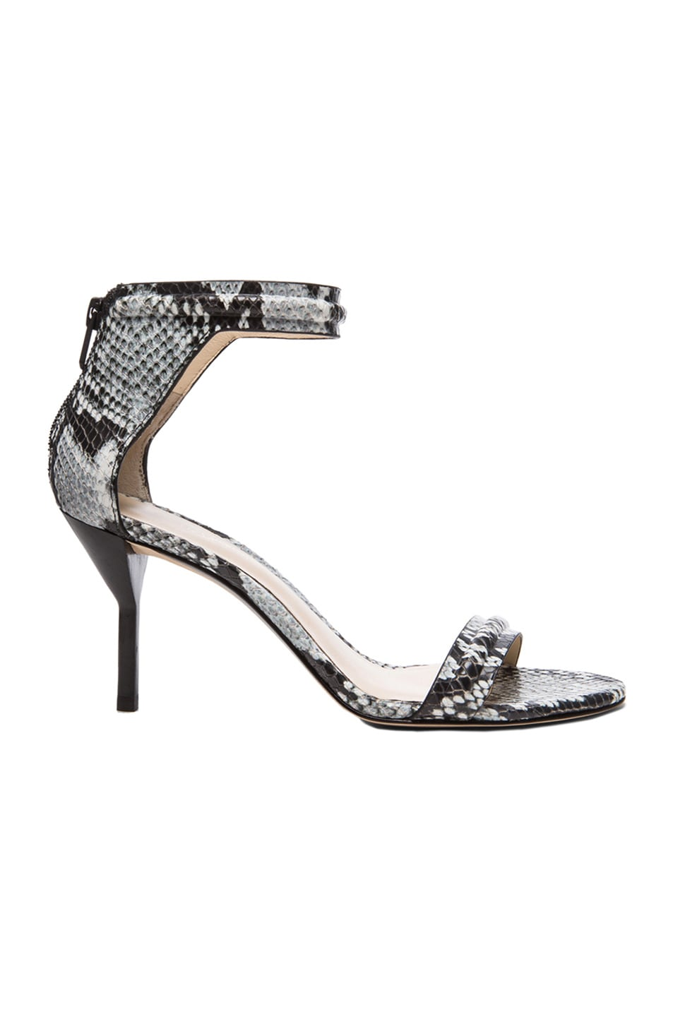 0e2f43c08de6 Image 1 of 3.1 phillip lim Martini Python Print Mid Heel Leather Sandals in  Off White