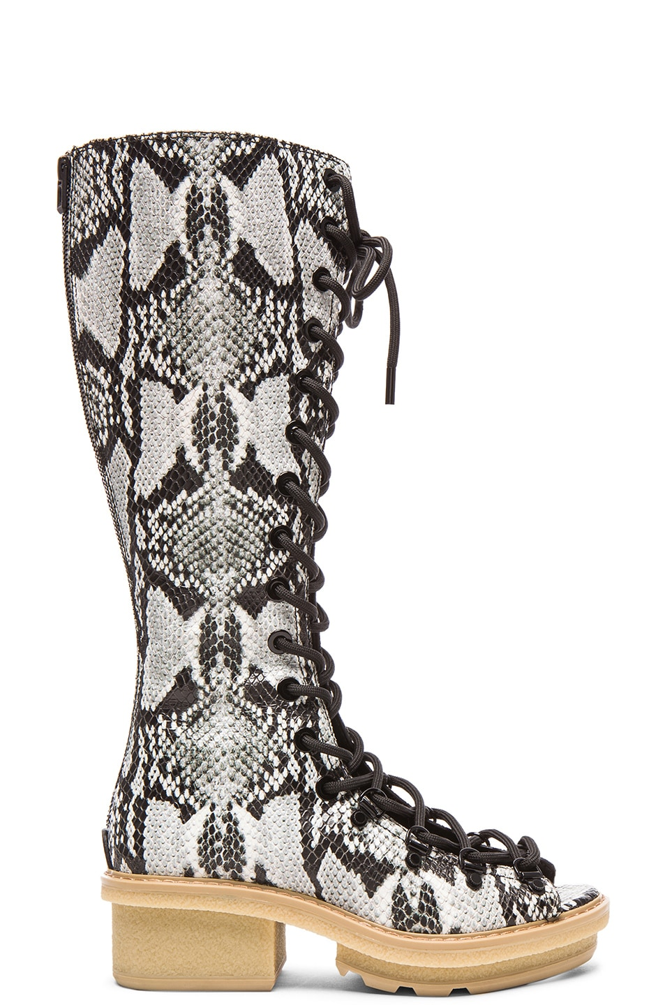 Image 1 of 3.1 phillip lim Mallory Python Print Leather Tall Sandal Boots in Off White
