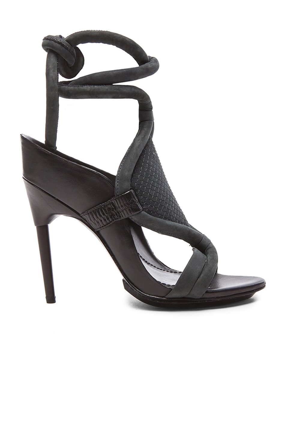 Image 1 of 3.1 phillip lim Marquise High Heel Calfskin Leather Sandals in Anthracite & Black